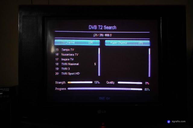 Proses pencarian channel tv digital menggunakan set top box STB DVB-T2