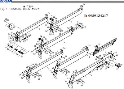 Đốt cần, xylanh ra vào cần của Cẩu soosan 15 tấn SCS1516-SCS1616