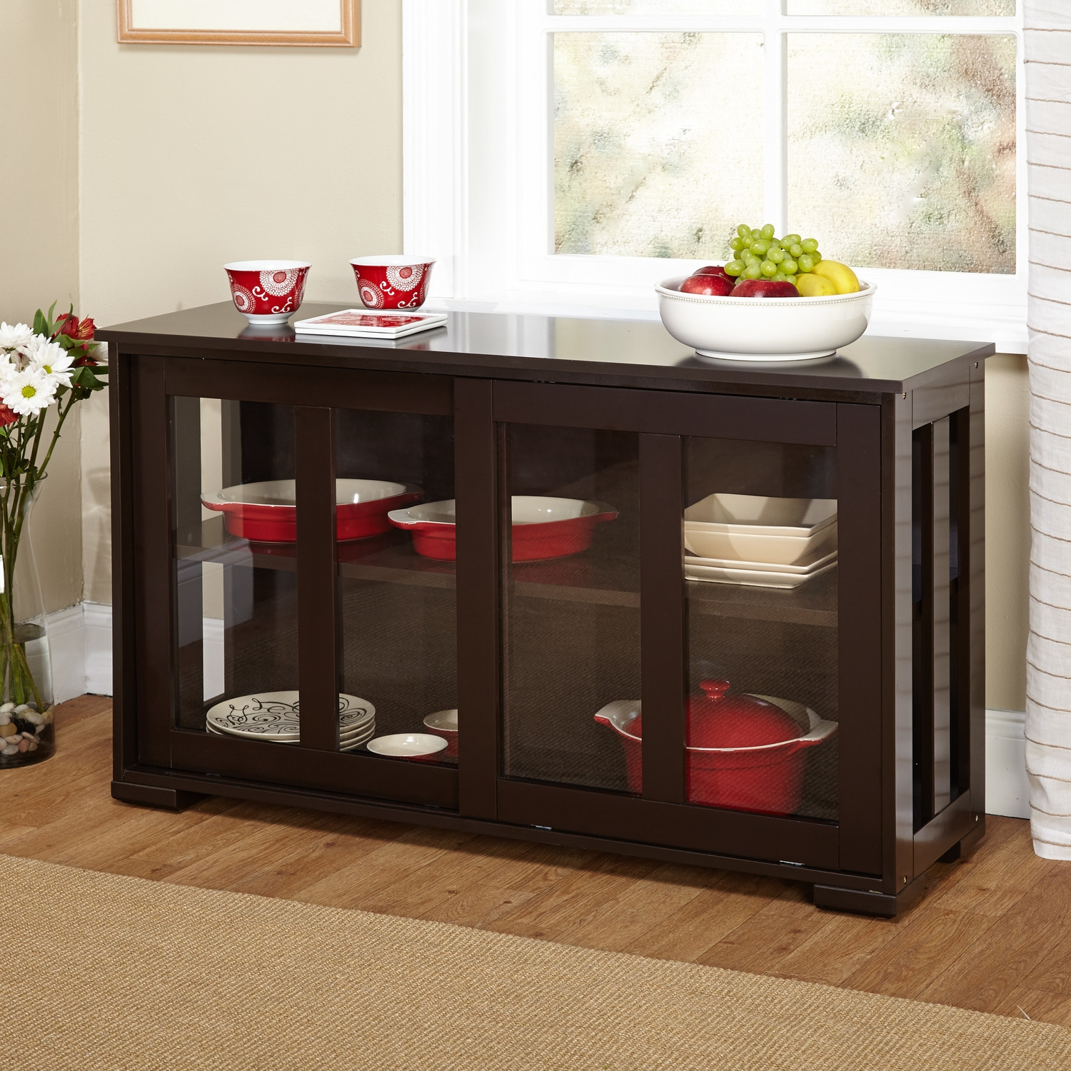 Dining Room Hutch Furniture Img 3 Espresso Dining Room Cabinet Storage Table Sliding Door
