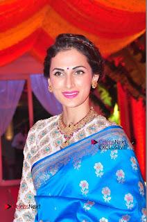 Actress Model Shilpa Reddy Exclusive Stills in Blue Saree at Vijay Karan Aashna Wedding  0003.JPG