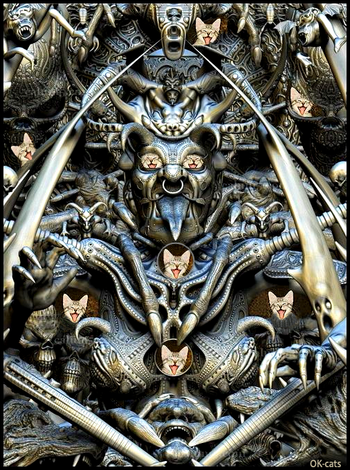 Photoshopped Cat picture • Several kittens sticking out their tongues hiding in a monumental statue sticking its tongue out