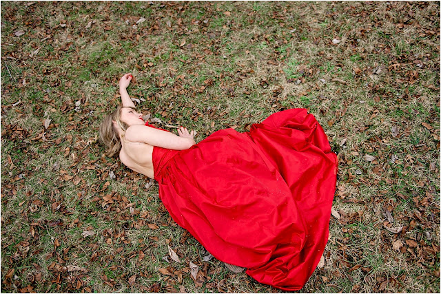 red dress forest woods park fashion photography