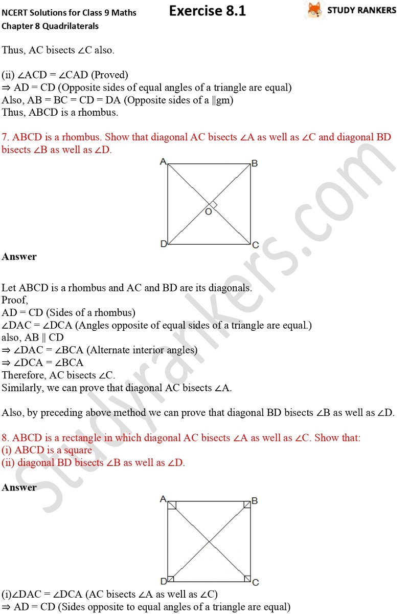 .NCERT Solutions for Class 9 Maths Chapter 8 Quadrilaterals Exercise 8.1 Part 5