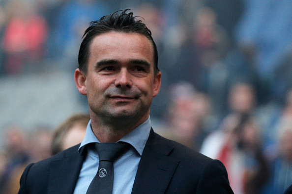 Ajax Director Marc Overmars looks on during the Eredivisie match between Ajax Amsterdam and NEC Nijmegen at Amsterdam Arena on May 3, 2014 in Amsterdam, Netherlands