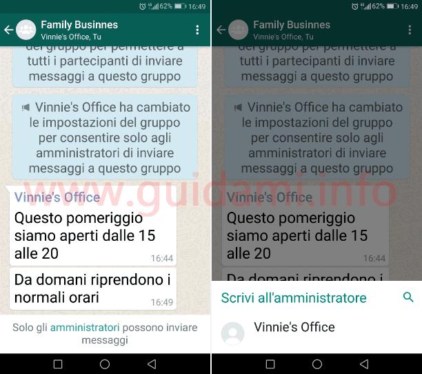 WhatsApp gruppo notifica Solo gli amministratori possono inviare messaggi
