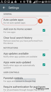 Google Play Auto Update App Setting