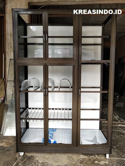 Rak Piring Aluminium 3 Pintu pesanan Bu Esthi di Kramatjati Jakarta Timur