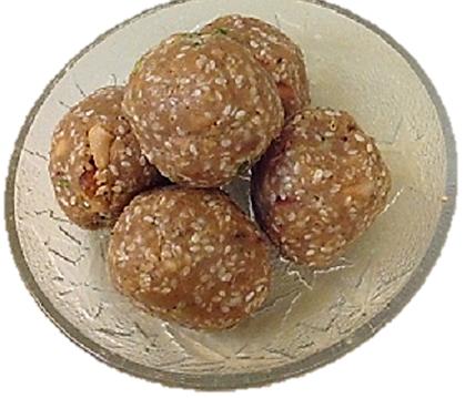 The favorite and necessary Makar Sakaranti Dish the sweet sesame balls, til ke laddu