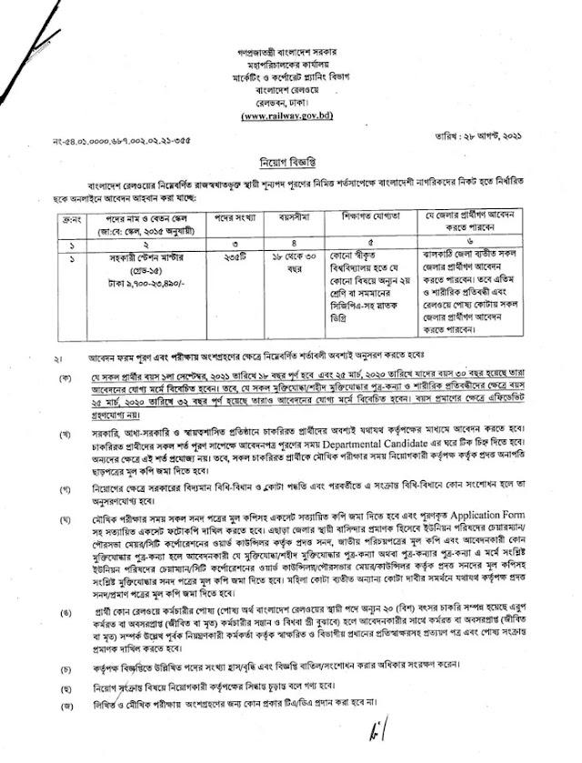 Bangladesh Railway Job Circular 2021