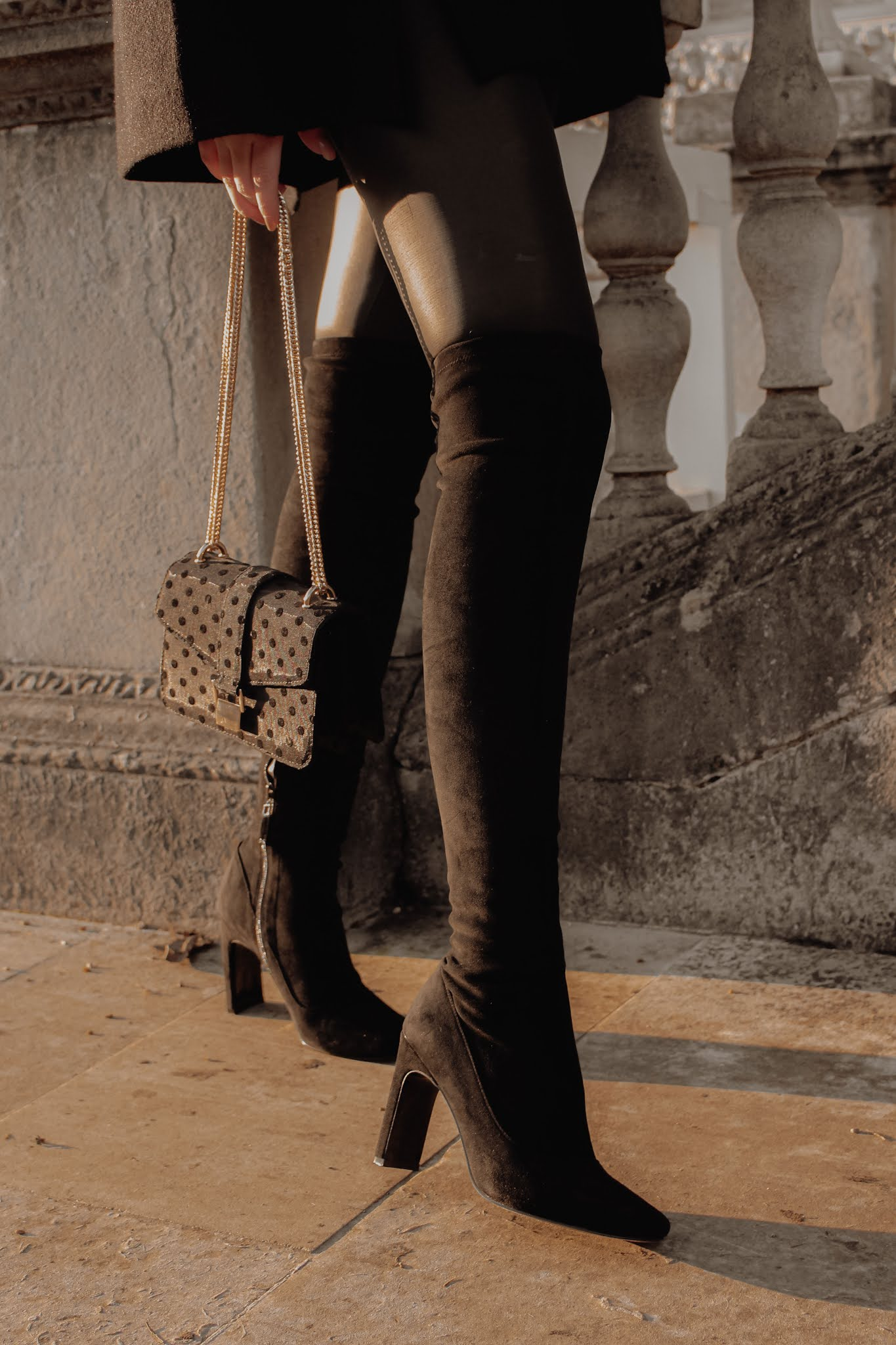 Moda in Pelle Selinia Black Suede Over The Knee Boots