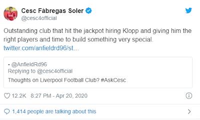 Fabregas Mengatakan Liverpool Mendapatkan Kloop Sangat Beruntung
