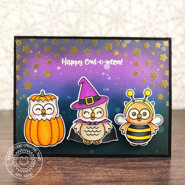 Sunny Studio Stamps: Happy Owl-o-ween Owl Trio Halloween Card by Amy Yang
