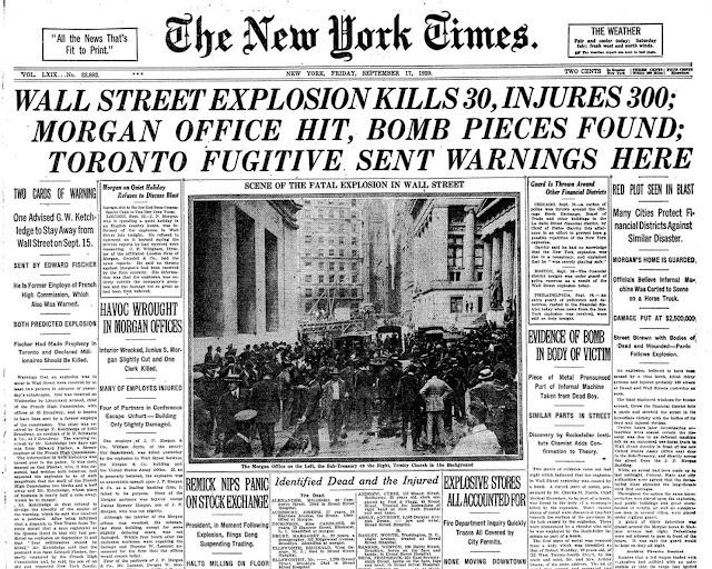 El atentado de Wall Street en 1920 en los periódicos