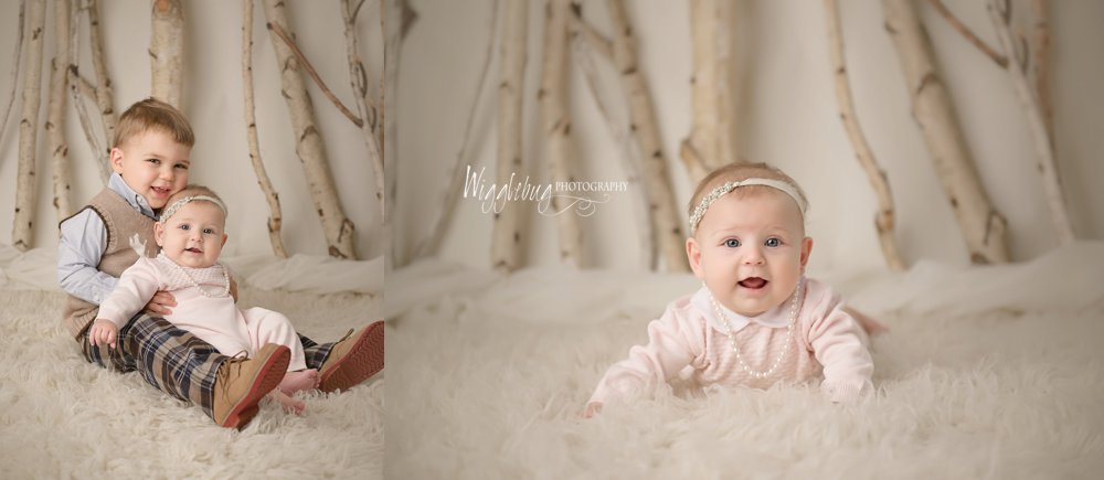 4 month old baby girl milestone session by DeKalb, IL Newborn and Family Photographer