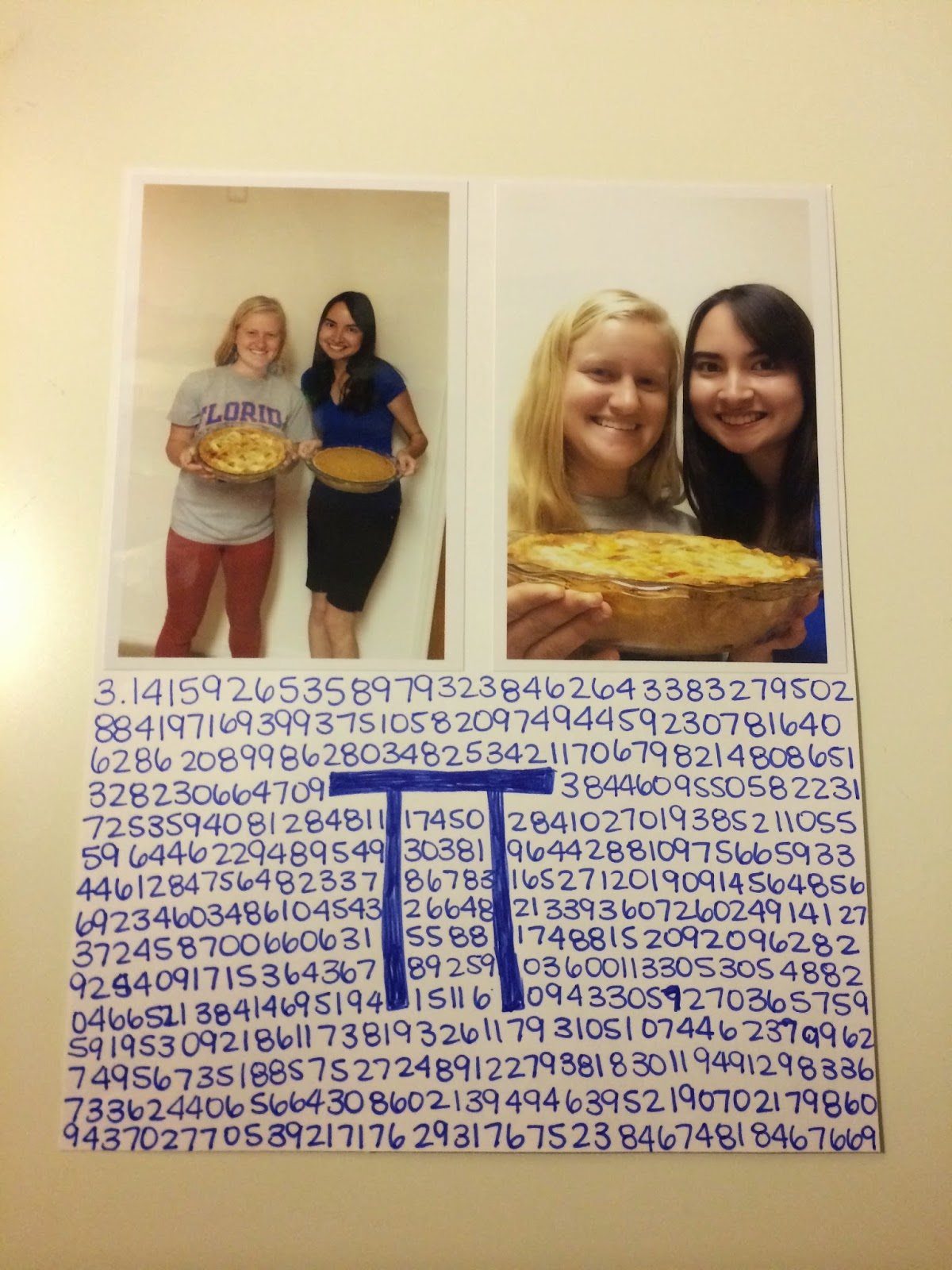 all of pi written out with two photos for the scrapbook album