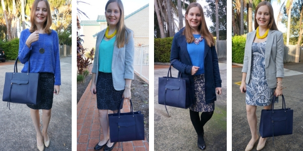 4 outfit ideas monochromatic blue outfits with navy MAB tote bag   awayfromblue
