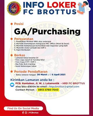 Loker Kupang FC Brottus Sebagai GA/Purchasing