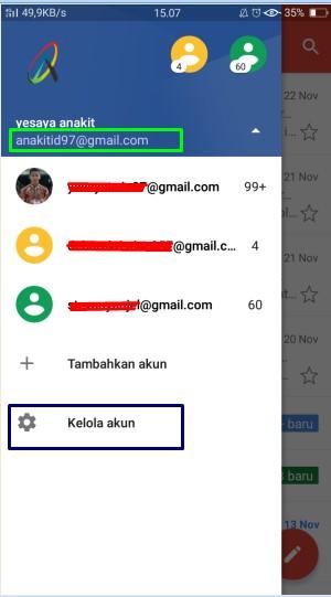 cara logout email di hp android
