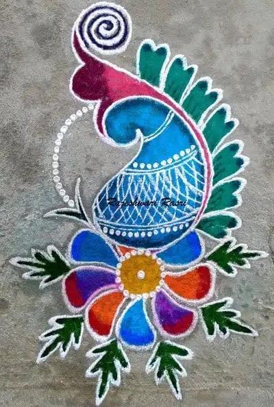 easy peacock rangoli