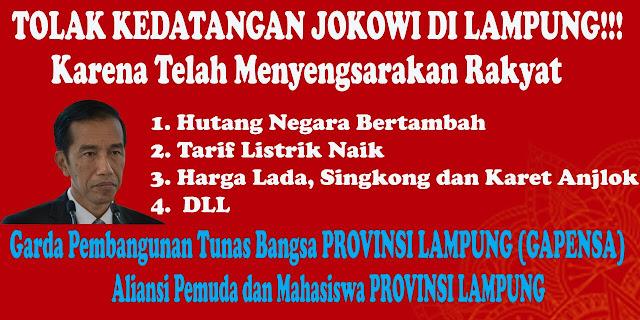 Gapensa Tolak Kedatangan Jokowi di Bumi Lampung