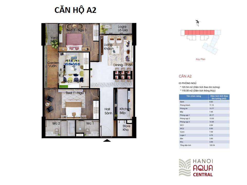Mặt bằng chi tiết căn hộ chung cư Hanoi Aqua Central