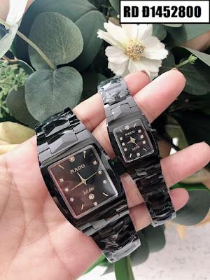 Đồng hồ nam mặt chữ nhật dây đá ceramic đen RD T1452800