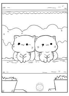 dibujos de kawai gatitos para colorear