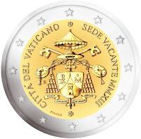 vatikaani 2 euroa kolikko sedisvakanssi 2013