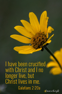 I have been crucified with Christ and I no longer live, but Christ lives in me. Galatians 2:20