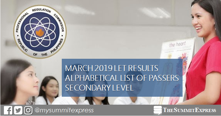 March 2019 LET Result Secondary level list of passers