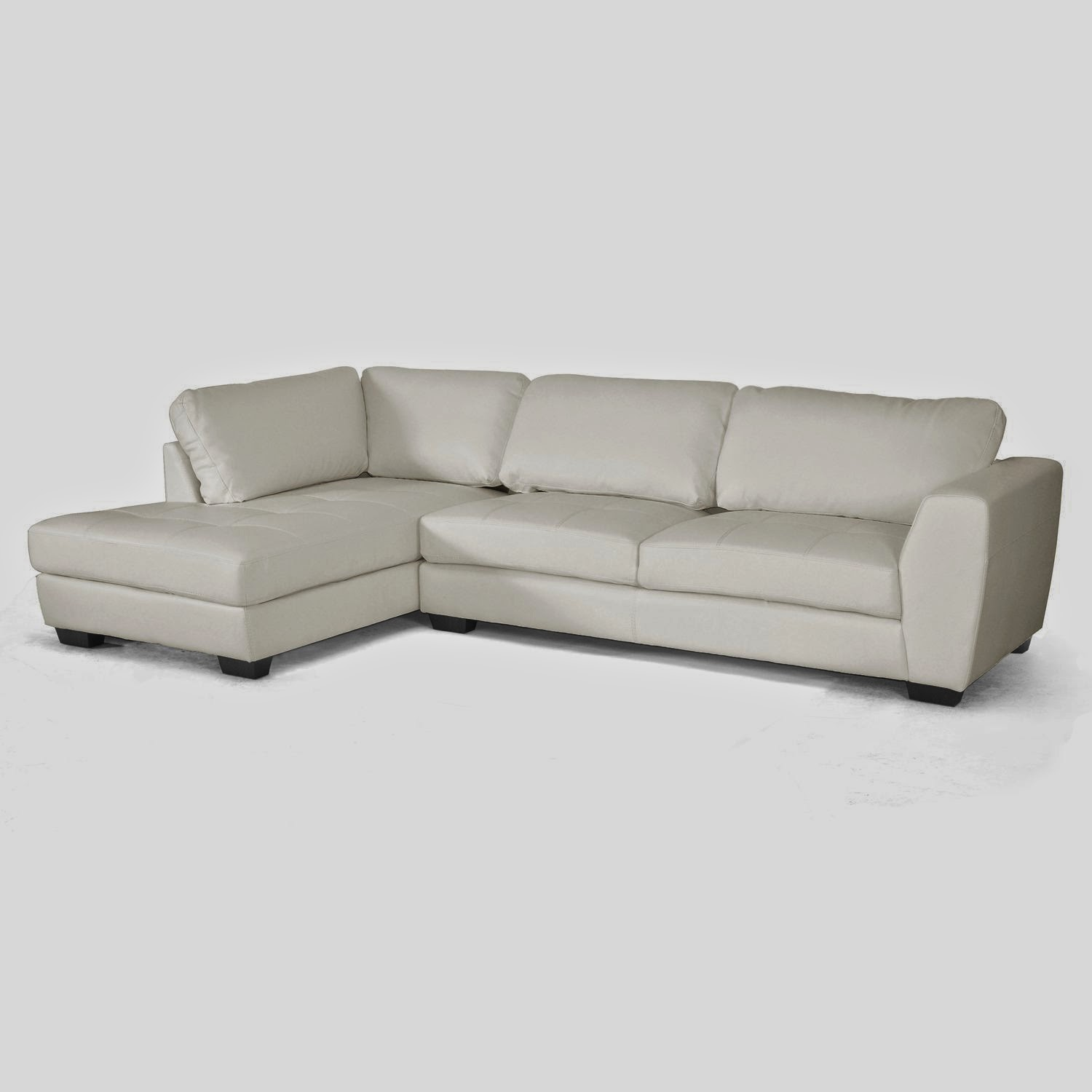 Baxton Studio Dobson Leather Modern Sectional Sofa Recliner Cheapest White Couch