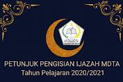 Petunjuk Penulisan Blangko Ijazah MDTA Tahun 2021