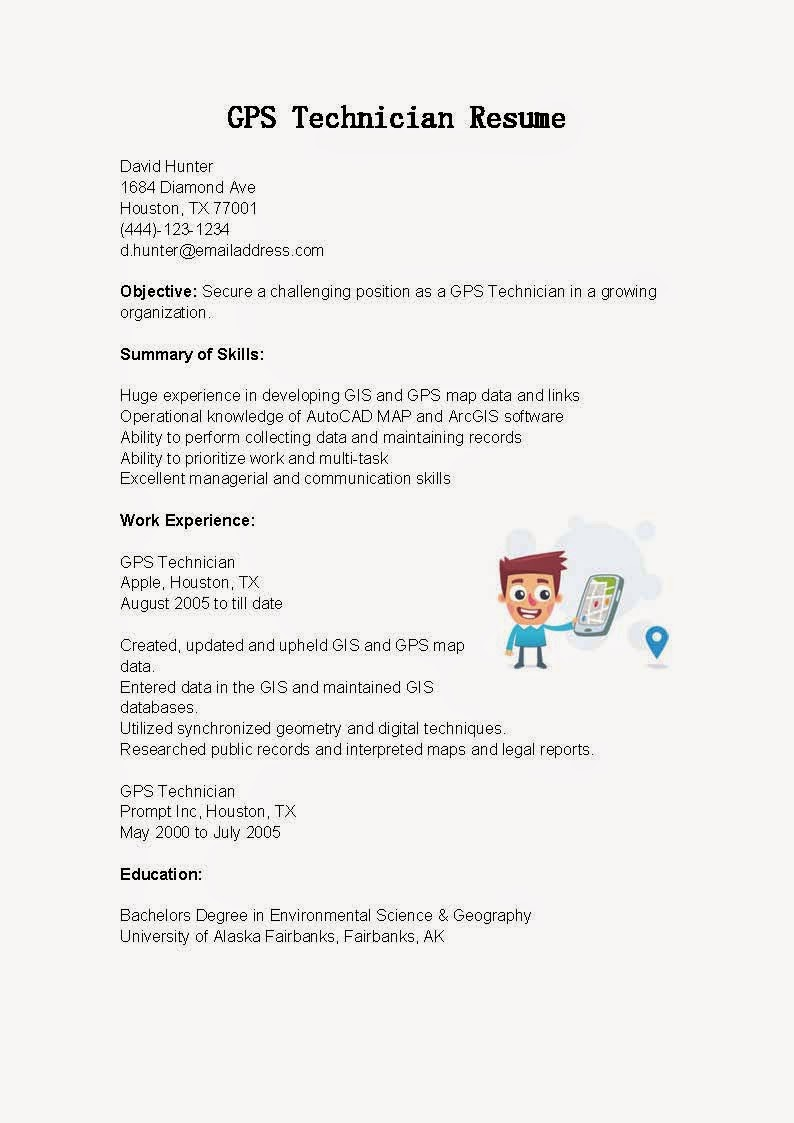 resume samples  gps technician resume sample