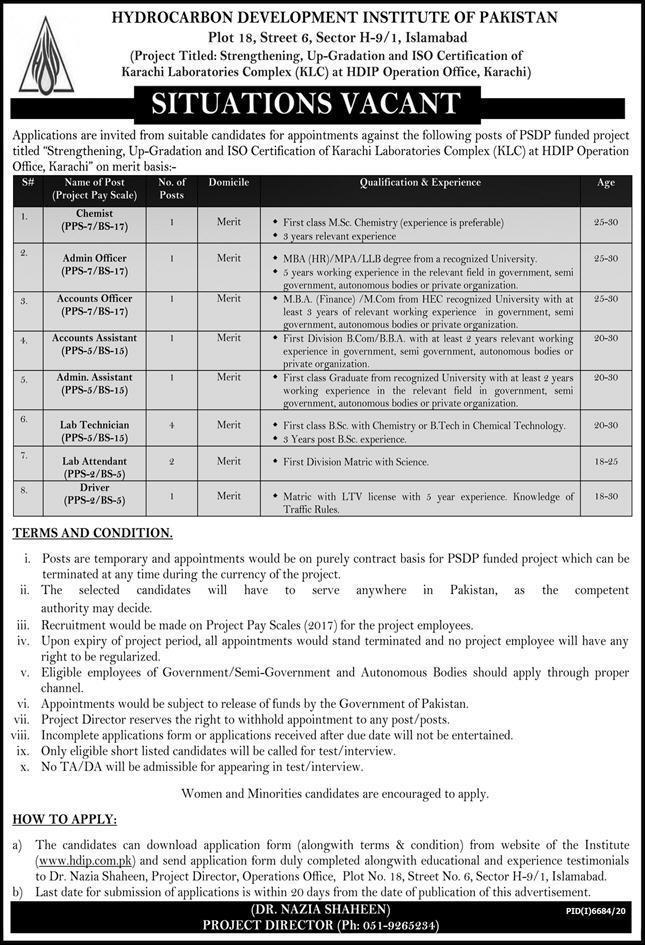 www.hib.com.pk Jobs 2021 - Hydrocarbon Development Institute of Pakistan (HDIP) Jobs 2021 in Pakistan