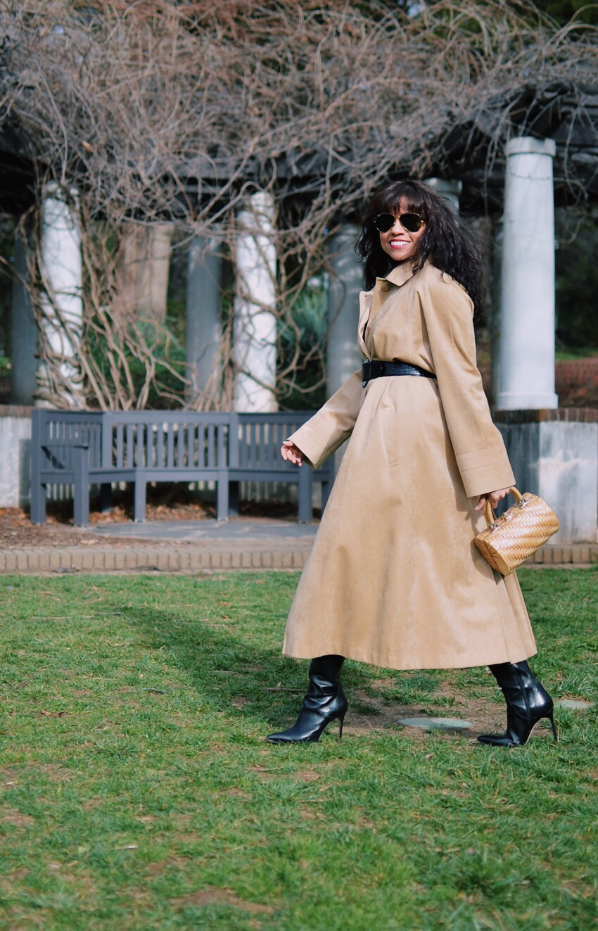 Suede trench coat street style