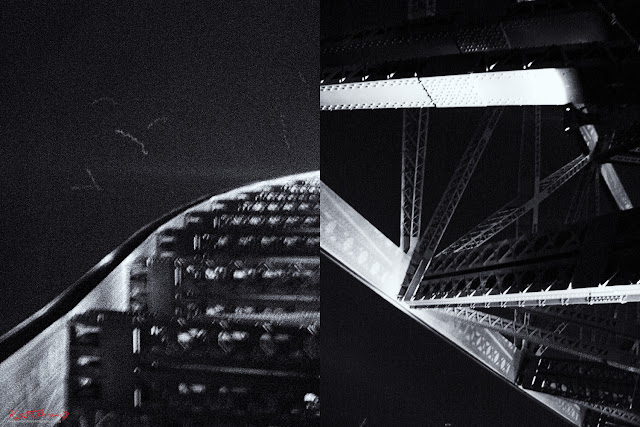 Sydney Harbour Bridge superstructure photographed at night by Kent Johnson.