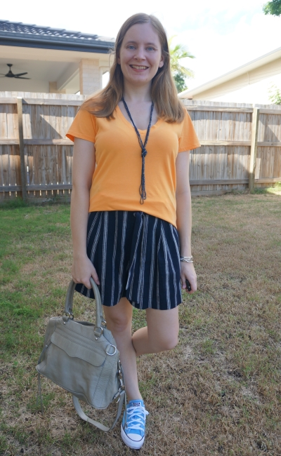 orange v-neck tee with navy striped culotte shorts and rebecca minkoff MAM | awayfromblue