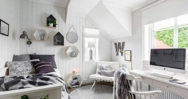 غرفة شبابية خشبية باللون الابيض موديل 2020