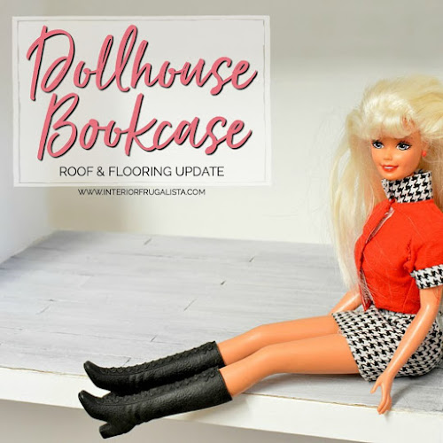 Dollhouse Bookcase Pitched Roof and Wood Flooring