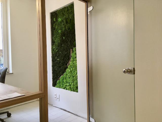 Moswand maken prijs voor onderhoud woonkamer met logo op maat op paneel voorparticulier per M2 in rendiermos