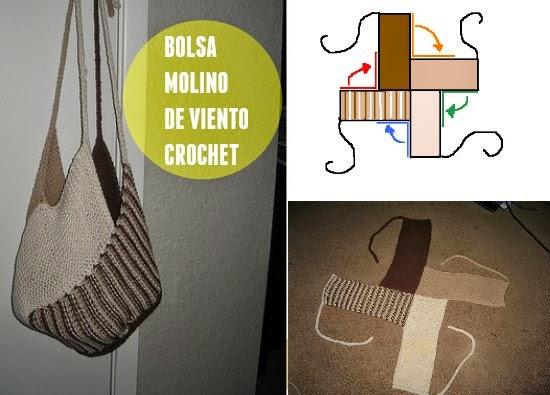 """Como hacer una Bolsa de Crochet """"Molino de Viento"""""""