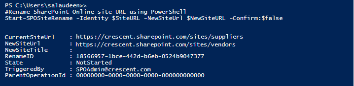 rename site collection in sharepoint online