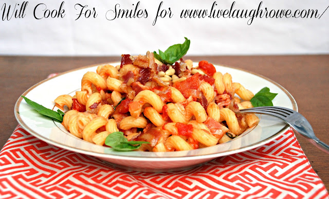 pasta dish with pine nuts and bacon