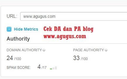 PA DA Blog Agugus.com dan Cara Meningkatkannya