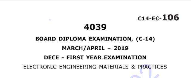 Sbtet solved electronic engineering materials & practices question papers march april 2019 c14