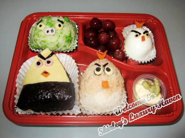 angry birds onigiri bento box for kids, japanese cuisine