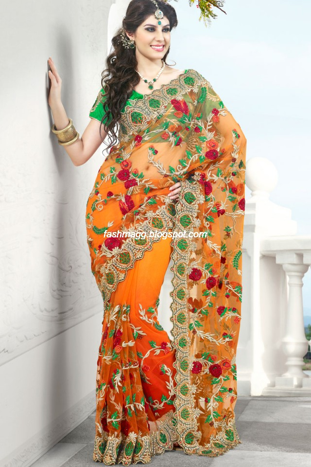 Fashion style indian sarees for wedding bridal wear for Sari inspired wedding dress