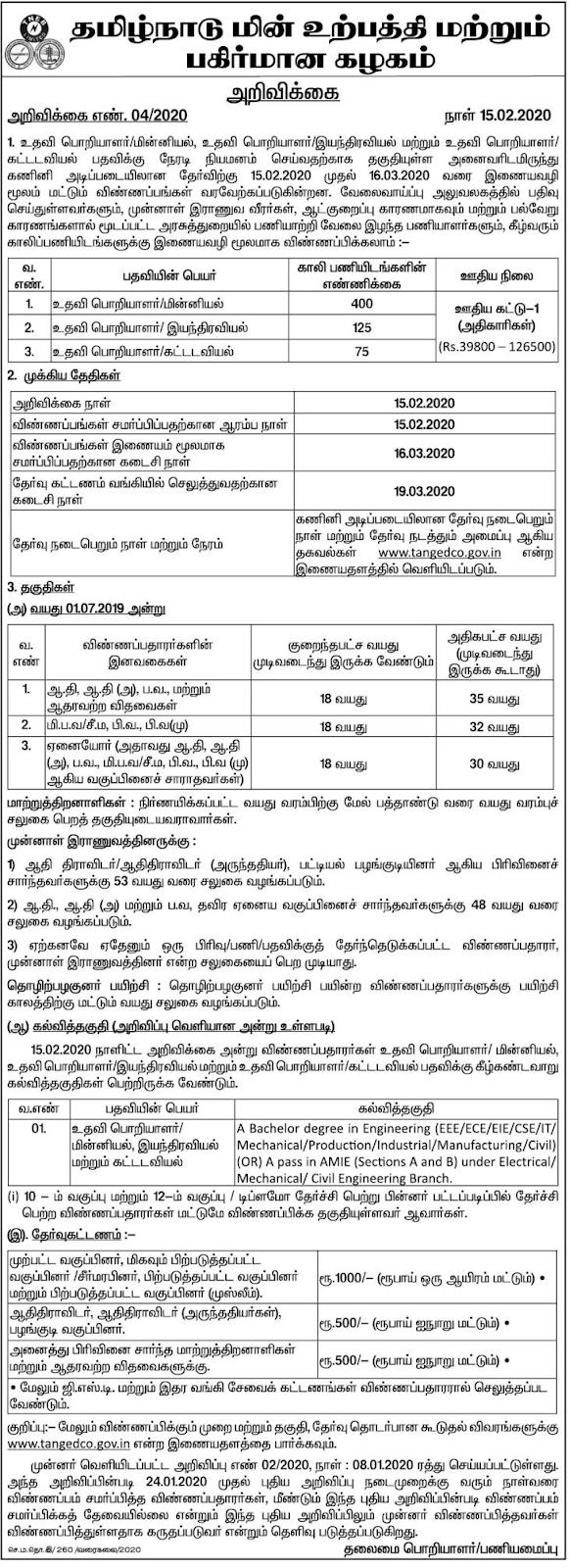 TNEB Assistant Engineer Recruitment 2020 - 600 Posts Vacancy