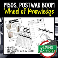1950s,  Progressive Era, American History Activity, American History Interactive Notebook, American History Wheel of Knowledge