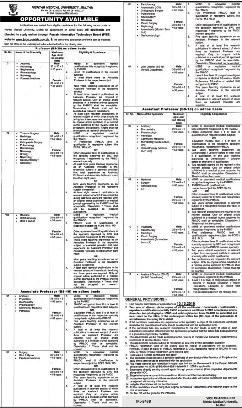 Jobs in Nishtar Medical University in Multan 2019